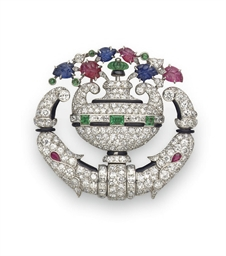 AN ART DECO DIAMOND AND MULTI-