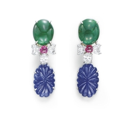 A PAIR OF SAPPHIRE, EMERALD, R