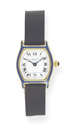 AN ENAMEL AND GOLD WRISTWATCH,