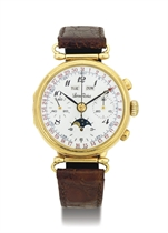 LUCIEN ROCHAT.  AN 18K GOLD TRIPLE CALENDAR CHRONOGRAPH WRISTWATCH WITH MOON PHASES