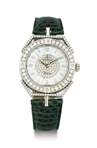 MONTEGA. AN 18K WHITE GOLD, DIAMOND AND MOTHER-OF-PEARL WRISTWATCH