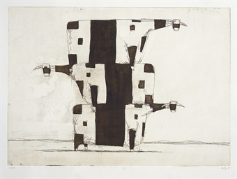 Untitled (Three cows in a pile