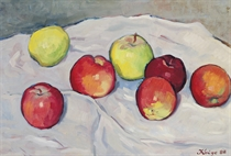 Apples on a draped table