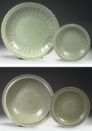Four Chinese Longquan celadon