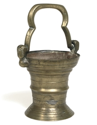 A BRASS HOLY WATER BUCKET
