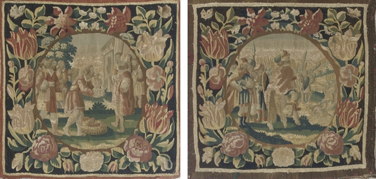 TWO DUTCH BIBLICAL TAPESTRY CU
