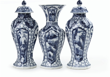 A Chinese blue and white three