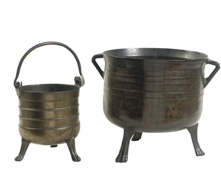 A BRONZE CAULDRON AND A BRONZE