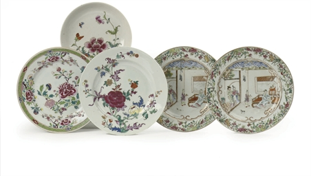 Five Chinese famille rose plat
