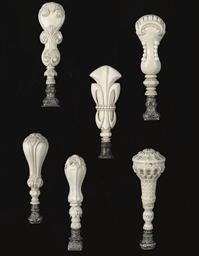 SIX CARVED IVORY SEALS