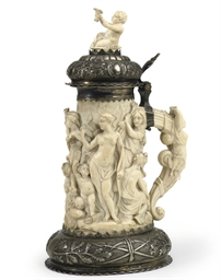 A GERMAN SILVER MOUNTED IVORY