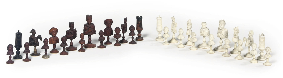 A TURNED IVORY CHESS SET