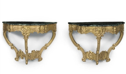 A NEAR PAIR OF GILTWOOD CONSOL
