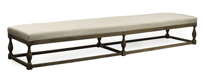 A GERMAN GREY PAINTED BENCH