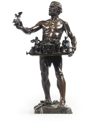 A BRONZE FIGURE OF A TRAVELLIN