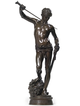 A FRENCH BRONZE FIGURE OF DAVID ENTITLED 'DAVID, VAINQUEUR DE GOLIATH'