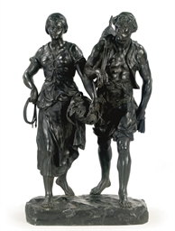 A BRONZE GROUP OF A FISHERMAN
