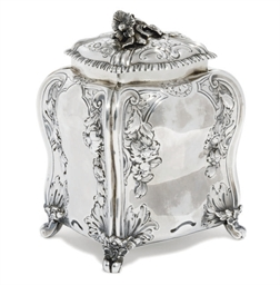 A GEORGE II SILVER TEA CADDY