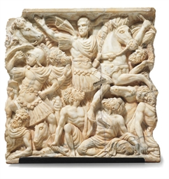 AN ITALIAN WHITE MARBLE RELIEF