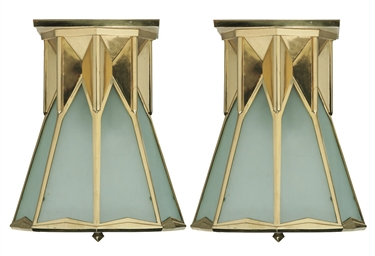 A PAIR ART DECO OF BRASS LANTE