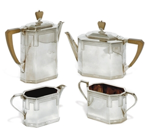 AN ART DECO FOUR-PIECE SILVER