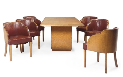 AN ART DECO SATIN-BIRCH DINING