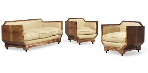 AN ART DECO WALNUT THREE PIECE