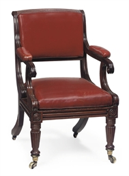 A LATE REGENCY MAHOGANY AND LE