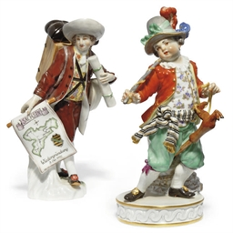 A MEISSEN FIGURE OF A BOY ON A