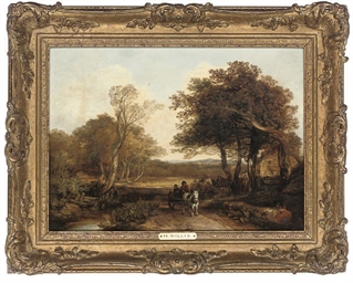 A horse and cart on a path; an