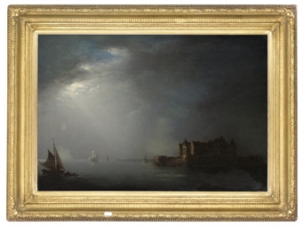 Ships off the coast, moonlight