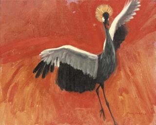 Crested crane, landing