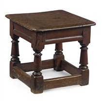A CHARLES I SQUARE OAK JOINED STOOL