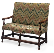 A WILLIAM AND MARY OAK-FRAMED TWO-SEAT SOFA