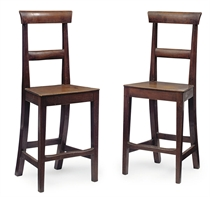 A PAIR OF REGENCY MAHOGANY AND CHERRY SHOP COUNTER CHAIRS