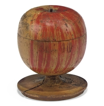 A RUSSIAN PAINTED WOOD 'APPLE' BOX AND COVER