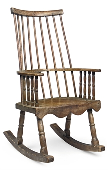 AN EARLY VICTORIAN ASH AND OAK ROCKING CHAIR