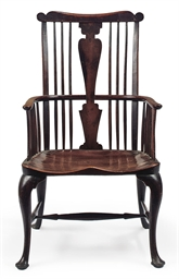 A GEORGE III ELM, WALNUT AND C