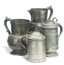 A QUEEN ANNE PEWTER TANKARD