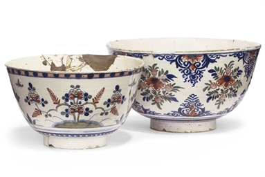 TWO GEORGE II ENGLISH DELFT PU