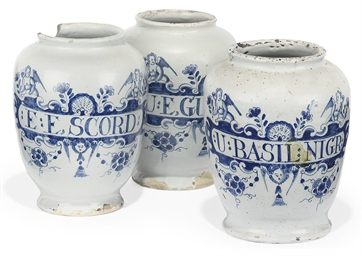THREE LONDON DELFT DRUG-JARS