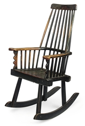 A GEORGE III ASH ROCKING CHAIR