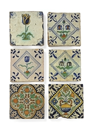 SIX DUTCH DELFT POLYCHROME TIL