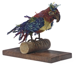 A BEADWORK MODEL OF A PARROT