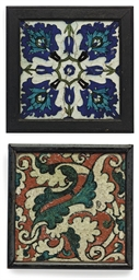 TWO FRAMED DAMASCUS IZNIK TILE