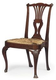 A GEORGE II WALNUT CHAIR