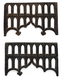 TWO ENGLISH GOTHIC PAINTED OAK