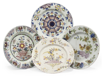 FOUR ENGLISH DELFT POLYCHROME