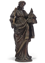 A FRENCH OAK FIGURE OF A ST HE