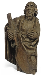 AN ENGLISH OAK CARVING OF SAIN